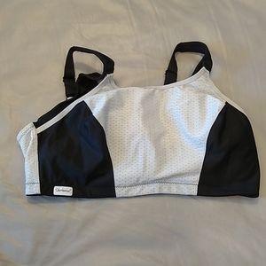 Glamorise black & grey sports bra size 44DD